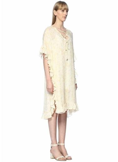 See By Chloe Fırfırlı Çiçekli Midi Elbise Bej